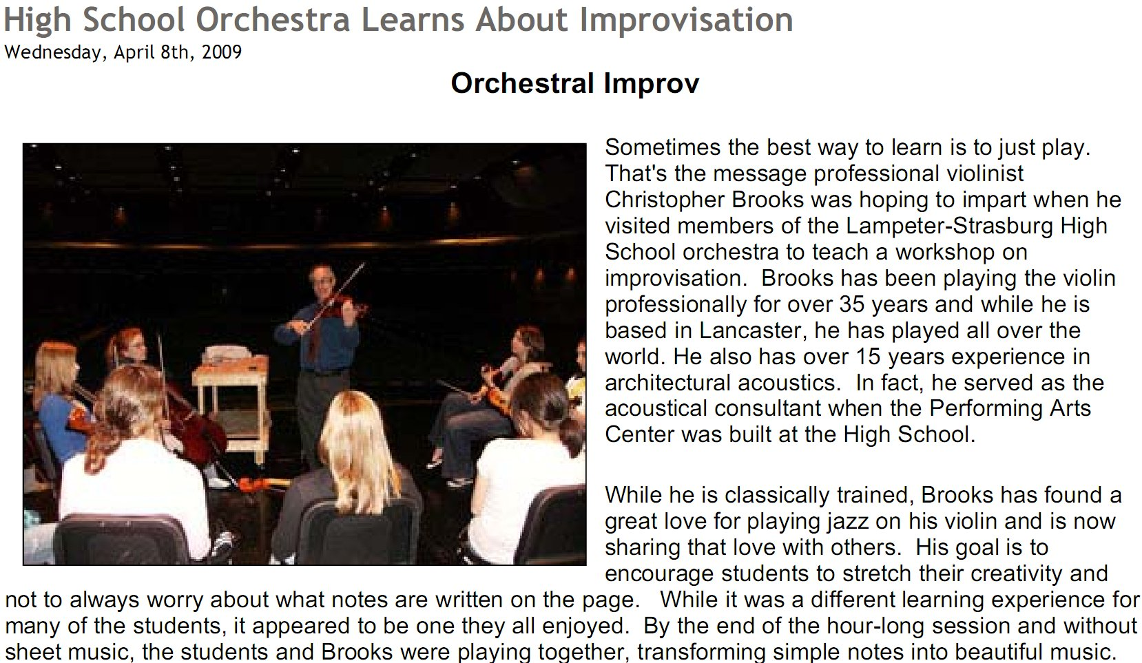 coaching orchestra class at Lampeter Strassburg HS
